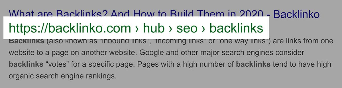 URL de localização atual no Google SERP