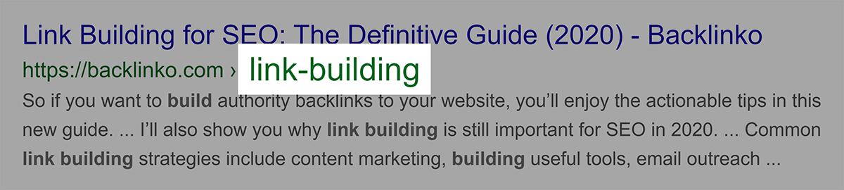 Palavra-chave exata no URL