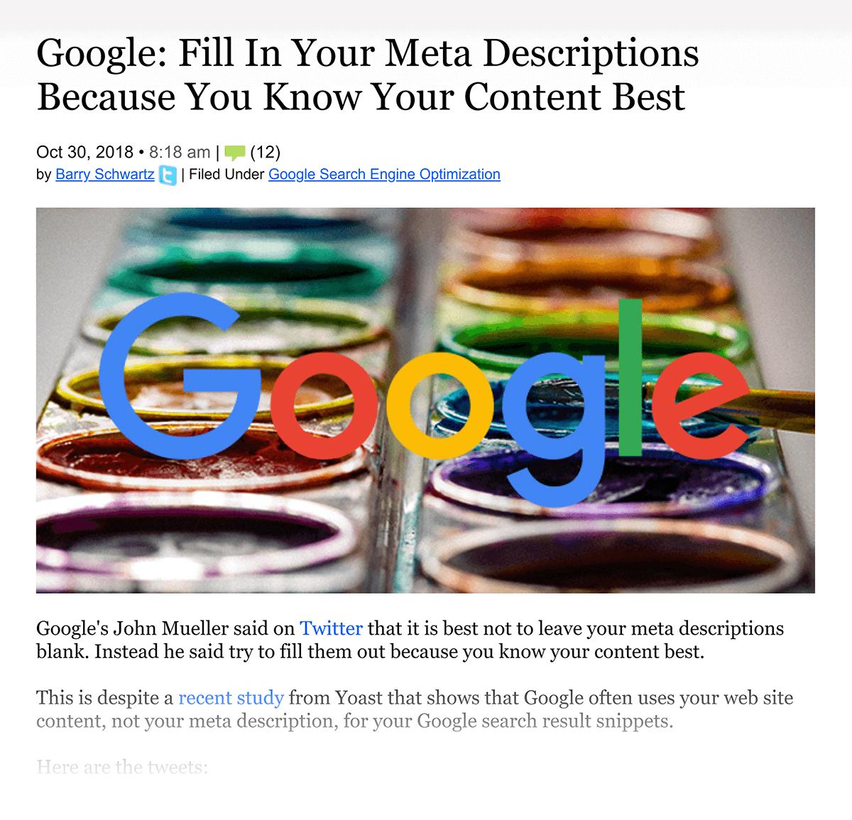 """O Google diz """"Preencha suas meta descrições"""""""