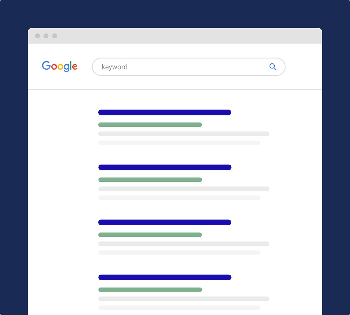 Página de resultados do mecanismo de pesquisa