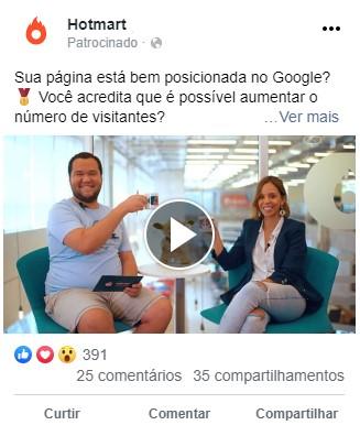 tipos de anúncio do facebook - ad de vídeo