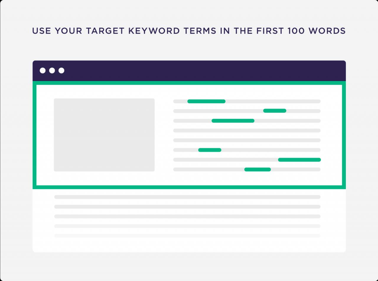Use seus termos de palavra-chave alvo nas primeiras 100 palavras
