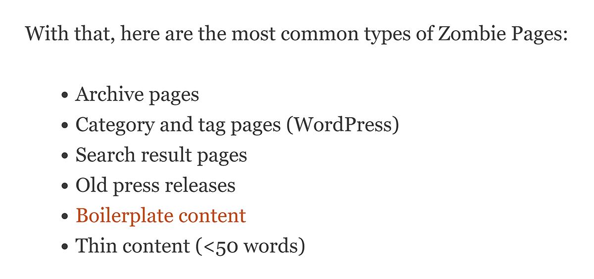 Lista com marcadores na postagem