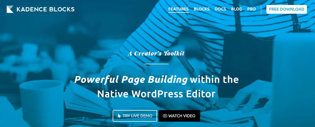 Gutenberg por kadence Blocks WordPress Page Builder