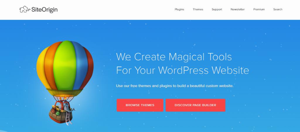 Construtor de páginas WordPress de origem do site